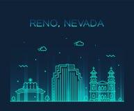Stile lineare della città di vettore del Nevada U.S.A. dell'orizzonte di Reno illustrazione di stock