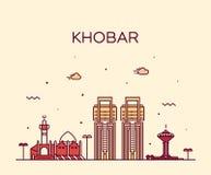 Stile lineare di vettore dell'Arabia Saudita dell'orizzonte di Khobar immagini stock libere da diritti
