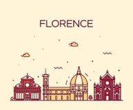Stile lineare di vettore della siluetta dell'orizzonte di Firenze Immagini Stock