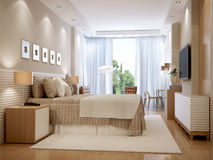 Stile luminoso dello scandinavo della camera da letto Fotografia Stock