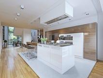 Stile luminoso di avanguardia della cucina Fotografie Stock
