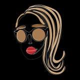 Stile minimalistic di Portret Linea astratta del fronte uno che attinge fondo nero Vettore illustrazione di stock