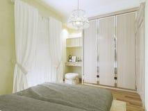 Stile moderno della camera da letto verde oliva Fotografia Stock