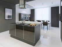 Stile moderno della cucina in bianco e nero Fotografie Stock