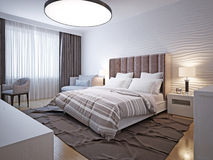 Stile moderno della grande camera da letto Immagine Stock Libera da Diritti