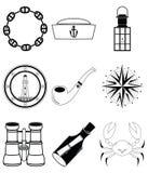 Stile nautico degli autoadesivi degli elementi 4 in bianco e nero Immagine Stock