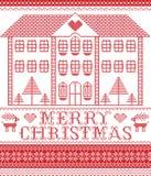Stile nordico di inverno di Buon Natale ed ispirato dal modello scandinavo di Natale in punto trasversale compreso la casa di pan illustrazione di stock