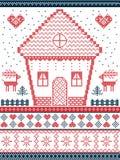 Stile nordico ed ispirato dal modello e dal mestiere scandinavi di Natale in punto trasversale, nel rosso, blu compreso la casa d illustrazione vettoriale