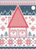 Stile nordico ed ispirato dal modello e dal mestiere scandinavi di Natale in punto trasversale in rosso, blu, bianco con la casa  illustrazione di stock