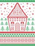 Stile nordico ed ispirato dal modello e dal mestiere scandinavi di Natale in punto trasversale in rosso, verde, bianco compreso i illustrazione vettoriale
