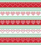 Stile nordico ed ispirato dal modello senza cuciture di Natale del mestiere trasversale scandinavo del punto in rosso e bianco e  Immagine Stock Libera da Diritti