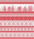 Stile nordico ed ispirato dal modello trasversale scandinavo di Buon Natale del mestiere del punto in rosso ed in bianco compreso Fotografia Stock