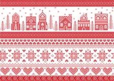 Stile nordico ed ispirato dal modello trasversale scandinavo di Buon Natale del mestiere del punto in rosso ed in bianco compreso Immagine Stock