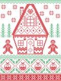 Stile nordico ed ispirato dal modello trasversale scandinavo di Natale del mestiere del punto nel rosso, verde compreso cuore, ca illustrazione vettoriale