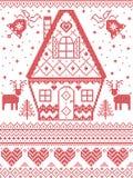 Stile nordico ed ispirato dal modello trasversale scandinavo di Natale del mestiere del punto in rosso, bianco, compreso cuore, c royalty illustrazione gratis