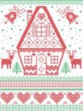 Stile nordico ed ispirato dal modello trasversale scandinavo di Natale del mestiere del punto in rosso, bianco, verde compreso cu illustrazione di stock