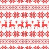 Stile norvegese Dots Red And White di Natale senza cuciture del modello royalty illustrazione gratis