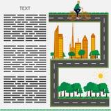 Stile piano - città pulita rispettosa dell'ambiente del libretto di concetto con una ragazza su una bicicletta Immagini Stock
