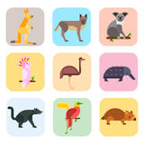 Stile piano dei caratteri popolari della natura del fumetto degli animali selvatici dell'Australia e foresta indigena australiana illustrazione vettoriale