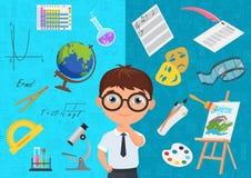 Stile piano del carattere diligente dello scolaro in vetri circondati con le varie icone delle materie d'insegnamento sul blu royalty illustrazione gratis