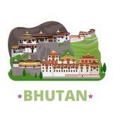 Stile piano del fumetto del modello di progettazione del paese del Bhutan Immagine Stock