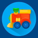 Stile piano del treno del giocattolo del ` s dei bambini Colori vibranti royalty illustrazione gratis