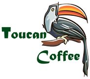 Stile piano del tucano isolato sull'uccello variopinto del backgroun bianco leaved in Americad del sud royalty illustrazione gratis