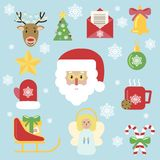 Stile piano dell'agrifoglio di vettore dell'icona di Natale royalty illustrazione gratis
