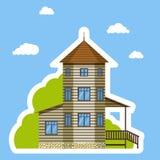 Stile piano dell'autoadesivo della casa su fondo blu Su bianco Immagini Stock Libere da Diritti