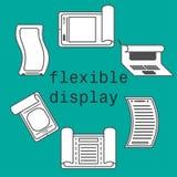 Stile piano dell'esposizione delle icone flessibili dello smartphone Immagine Stock Libera da Diritti