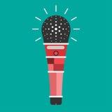 Stile piano dell'icona del microfono Fotografia Stock Libera da Diritti