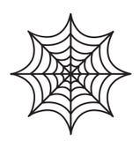 Stile piano dell'icona della ragnatela Isolato su priorità bassa bianca Illustrazione di vettore Fotografia Stock