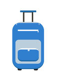 Stile piano dell'icona della valigia di viaggio Sulle ruote I bagagli hanno isolato un fondo bianco Illustrazione di vettore Fotografie Stock