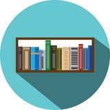 Stile piano dell'icona dello scaffale di libro Immagine Stock