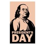 Stile piano dell'illustrazione di vettore di Franklin di giorno di presidente illustrazione vettoriale