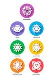 Stile piano dell'insieme di colore dell'icona di Chakra isolato Fotografia Stock