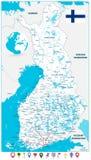 Stile piano della mappa della Finlandia e delle icone della mappa Fotografia Stock