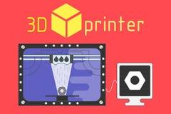 stile piano della stampante 3d su fondo colorato Fotografia Stock
