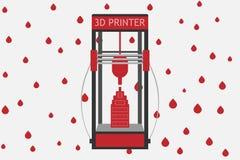 stile piano della stampante 3d su fondo colorato Immagini Stock Libere da Diritti