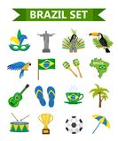 Stile piano delle icone brasiliane di carnevale Turismo di viaggio del paese del Brasile Raccolta degli elementi di progettazione illustrazione vettoriale