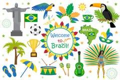 Stile piano delle icone brasiliane di carnevale Turismo di viaggio del paese del Brasile Raccolta degli elementi di progettazione royalty illustrazione gratis