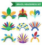 Stile piano delle icone del copricapo della fascia della piuma del Brasile Carnevale del casco, cappelleria di Samba Festival Iso royalty illustrazione gratis
