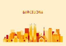 Stile piano di grande della città di Barcellona Spagna vettore dell'orizzonte Fotografia Stock Libera da Diritti
