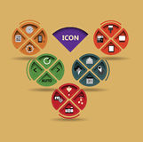 Stile piano di progettazione dell'illustrazione dell'icona di tecnologia di vettore Immagine Stock