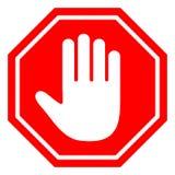 Stile piano di progettazione Non fornisca il segno rosso di arresto con la mano Immagini Stock Libere da Diritti