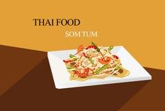 Stile piano di vettore dell'insalata tailandese della papaia Immagine Stock