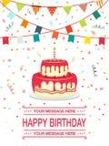 Stile piano felice del partito del nastro e della torta di compleanno Icona dell'illustrazione di vettore isolata su fondo bianco illustrazione di stock