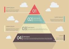 Stile piano Infographic del grafico della piramide Fotografie Stock