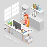 Stile piano isometrico dell'area di lavoro Gente di affari che lavora ad una scrivania illustrazione vettoriale