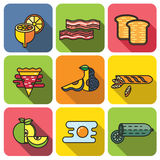 Stile piano stabilito dell'icona dell'alimento Immagini Stock